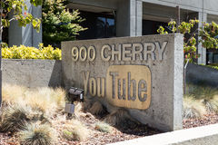 Youtube Headquarters. San Bruno, California - July 30, 2016:  Exterior view with sign outside Youtube Headquarters Royalty Free Stock Images