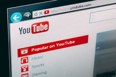 YouTube homepage. MINSK, BELARUS - October 10, 2013 The logo of the brand Youtube. YouTube is a video-sharing website, service was created by three former PayPal Stock Images