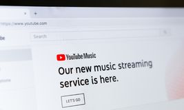 Youtube homepage with new music streaming service. Kharkiv, Ukraine - December 11, 2018: Youtube homepage with new music streaming service. Youtube is popular stock images
