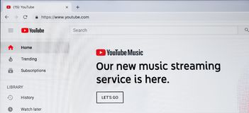Youtube homepage with new music streaming service. Kharkiv, Ukraine - December 11, 2018: Youtube Music service on website homepage. Youtube is popular video stock photography
