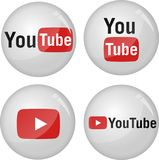 Youtube icon collection. 3d balls filled by youtube logo icon collection. This is an illustrated vector image can be use as a button icon or a badge Stock Images