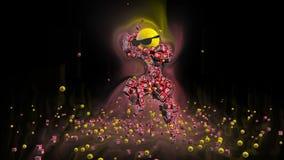 Youtube-Ikonen-Tanzen-Charakter umgeben durch bunte Lichter, gegen Schwarzes vektor abbildung