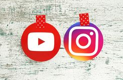 YouTube and Instagram round icons royalty free stock photography