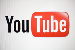 Youtube logo. Macro image of monitor with youtube logo on white background Royalty Free Stock Image