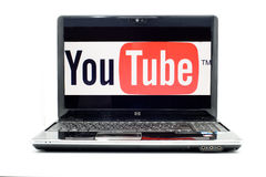 YouTube logo on HP laptop. According to YouTube fact sheet, people are watching 2 billion videos a day on YouTube (www.youtube.com Royalty Free Stock Image
