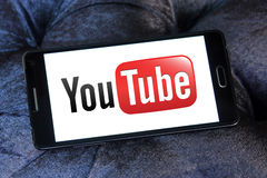 Youtube logo. And vector on samsung mobile phone a5 Royalty Free Stock Photos