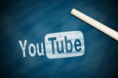 YouTube Logo. With a white chalk on chalkboard Royalty Free Stock Photos