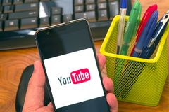 Youtube on mobile phone royalty free stock photo