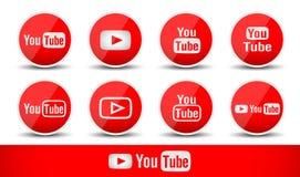 Youtube symboler ställde in i rött enkelt isolerat på vit backgraound Royaltyfri Foto