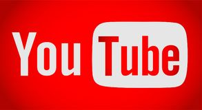 Youtube text with logo icon. In red ai 10 additional in red background vector illustration