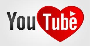 Youtube text med förälskelse- och hjärtabegreppslogo Royaltyfria Foton