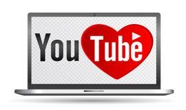 Youtube text med förälskelse- och hjärtabegreppslogo på bärbar datorskärmen Fotografering för Bildbyråer