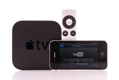 YouTube to Apple TV. Streaming YouTube Video From Apple Iphone 4 to Apple TV Stock Image