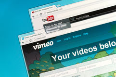 YouTube and Vimeo. Are community sharing videos Royalty Free Stock Photography