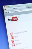 Youtube Website. Johor, Malaysia - Dec 12, 2013: Photo of Youtube homepage on a monitor screen, YouTube provides a platform for create, connect and discover the Stock Images