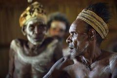 YOUW-BY, ATSY-OMRÅDE, ASMAT-REGION, IRIAN JAYA, NEW GUINEA, INDONESIEN - MAJ 23, 2016: Stående av män från stammen av A Royaltyfria Bilder