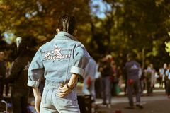 Yoyogi`s rockabillies dancing in the park on a Sunday stock images
