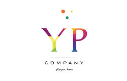 yp y p creative rainbow colors alphabet letter logo icon stock illustration