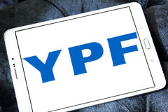 YPF, Fiscal Oilfields oil and gas company logo. Logo of Argentine oil company YPF, Fiscal Oilfields on samsung tablet . YPF, Fiscal Oilfields , is a vertically Stock Images