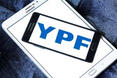 YPF, Fiscal Oilfields oil and gas company logo. Logo of Argentine oil company YPF, Fiscal Oilfields on samsung mobile on samsung tablet. YPF, Fiscal Oilfields Royalty Free Stock Image