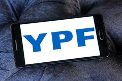YPF, Fiscal Oilfields oil and gas company logo. Logo of Argentine oil company YPF, Fiscal Oilfields on samsung mobile. YPF, Fiscal Oilfields , is a vertically Stock Photo