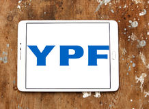 YPF, Fiscal Oilfields oil and gas company logo. Logo of Argentine oil company YPF, Fiscal Oilfields on samsung tablet . YPF, Fiscal Oilfields , is a vertically Stock Image