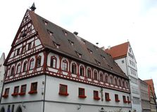 Ypical house in the town of Nordlingen in Germaniania. Photo made in Nordlingen town in Germany. In the picture you see, in the foreground, a typical house in Stock Image