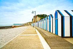 Yport and Fecamp, Normandy.  Beach huts or cabins and cliffs. France. Stock Photos