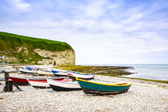 Yport Fecamp village, bay beach, cliff and boats. Normandy, Fran Royalty Free Stock Photo