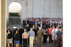 Ypres. BELGIUM - JULY 2014  Last Post Ceremony under the Menin Gate Memorial to the Missing, a war memorial dedicated to the commemoration of British and Royalty Free Stock Photos