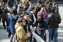 Ypung strike. PONTEVEDRA, SPAIN - MARCH 24, 2015: Demonstration of university, during the strike against the education law education minister of the Conservative Stock Photos