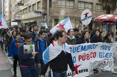 Ypung strike. PONTEVEDRA, SPAIN - MARCH 24, 2015: Demonstration of university, during the strike against the education law education minister of the Conservative Royalty Free Stock Images