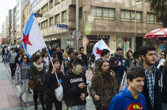 Ypung strike. PONTEVEDRA, SPAIN - MARCH 24, 2015: Demonstration of university, during the strike against the education law education minister of the Conservative royalty free stock photography
