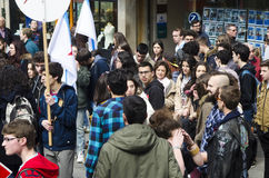 Ypung strike. PONTEVEDRA, SPAIN - MARCH 24, 2015: Demonstration of university, during the strike against the education law education minister of the Conservative Stock Photo