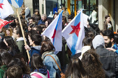 Ypung strike. PONTEVEDRA, SPAIN - MARCH 24, 2015: Demonstration of university, during the strike against the education law education minister of the Conservative Stock Photography