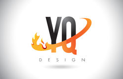 YQ Y Q Letter Logo with Fire Flames Design and Orange Swoosh. Stock Photo