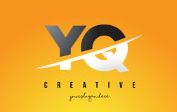 YQ Y Q Letter Modern Logo Design with Yellow Background and Swoo Stock Image