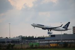 YR-BGL TAROM Boeing 737-8H6WL is leaving amsterdam schiphol airport in the Netherlands Stock Photos