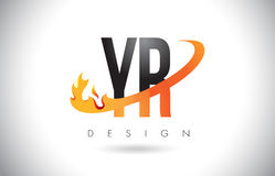 YR Y R Letter Logo with Fire Flames Design and Orange Swoosh. Royalty Free Stock Images