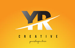 YR Y R Letter Modern Logo Design with Yellow Background and Swoo Stock Image