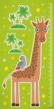 Żyraf palmy na zielonym tło dzieci wzrosta metrze i izolujemy majcheru wektor Zdjęcia Royalty Free