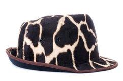 Żyrafa deseniowi mężczyzna kapeluszowi Zdjęcie Royalty Free