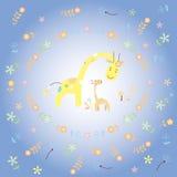 Żyrafy i dziecko żyrafy kartka z pozdrowieniami royalty ilustracja