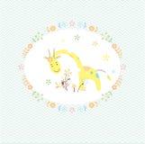 Żyrafy i kwiatu kartka z pozdrowieniami royalty ilustracja