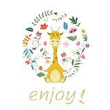 Żyrafy i kwiatu tło ilustracji