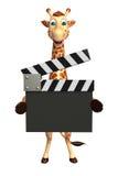 Żyrafy postać z kreskówki z clapboard Obrazy Royalty Free