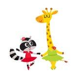 Żyrafy, szop pracz, szczeniaka i figlarki charaktery tanczy balet wpólnie, royalty ilustracja