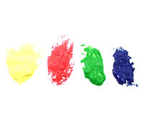 YRGB paint stains. Yellow Red Green Blue paint stains Stock Photography