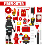 Yrkebrandman Icons Set med brandmanutrustning royaltyfri illustrationer