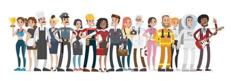 Yrkemän och kvinnor royaltyfri illustrationer